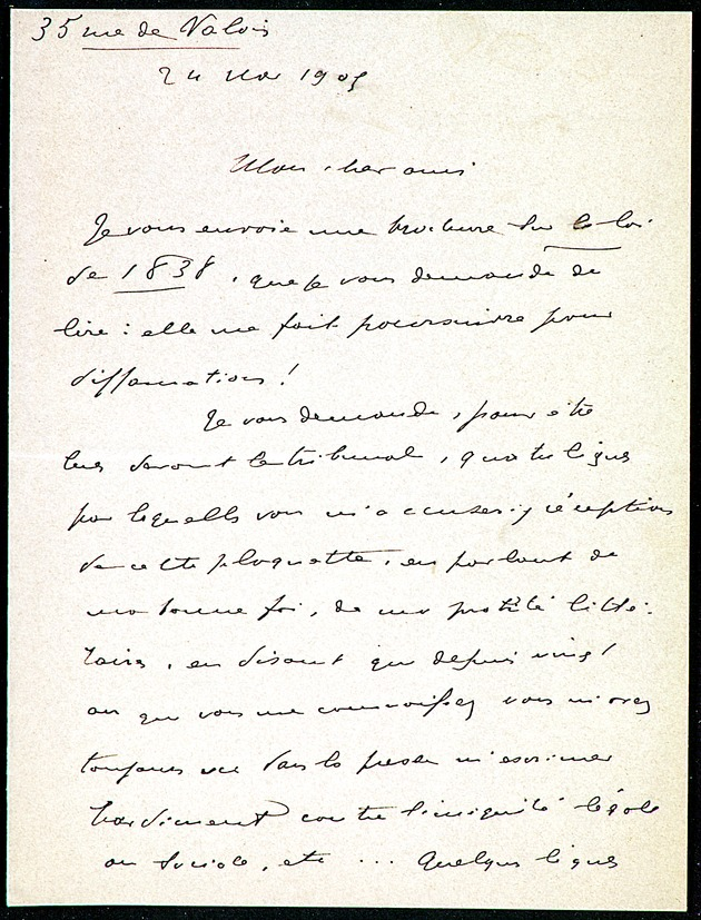 Letter from Jean Ajalbert to Leon Hennique dated Nov 24, 1905 (Miscellaneous Papers of French Authors) - Page 1