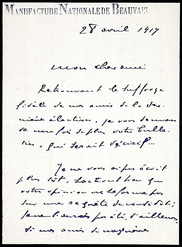 Letter from Jean Ajalbert to Leon Hennique dated April 28, 1917 (Miscellaneous Papers of French Authors) -