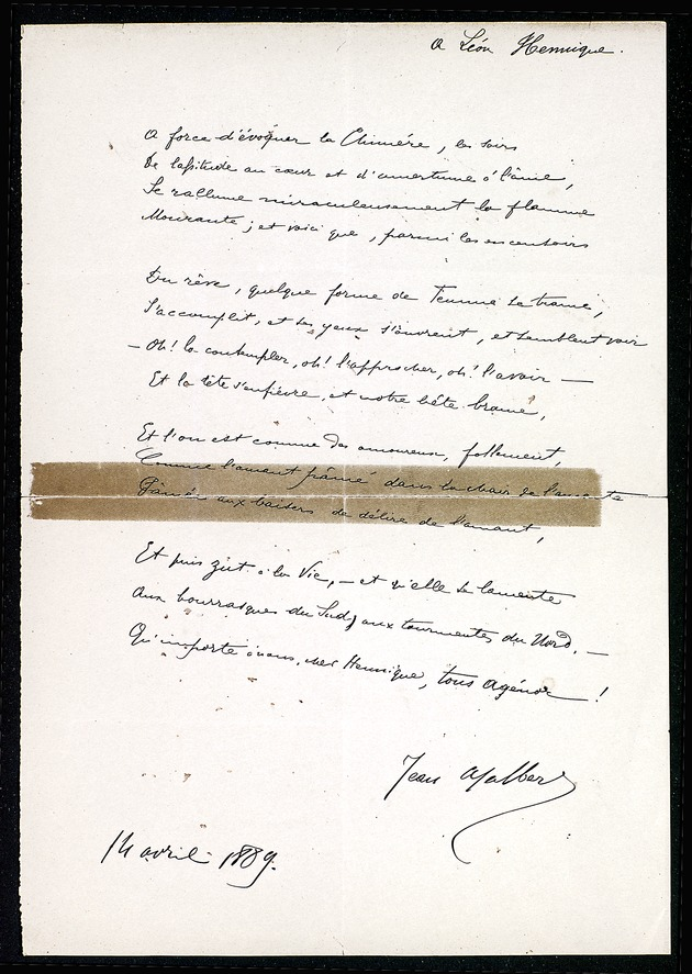 Poem by Jean Ajalbert for Leon Hennique dated April 14, 1889 (Miscellaneous Papers of French Authors) - Page 1