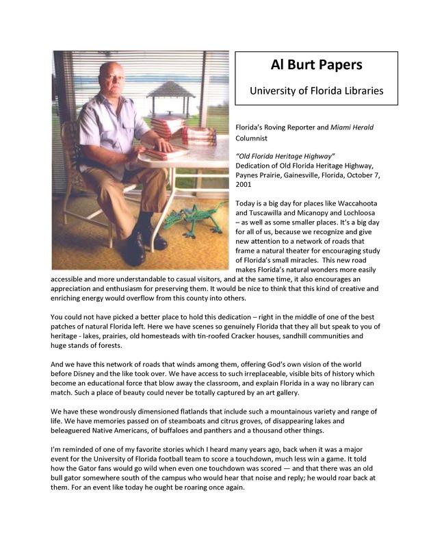 """""""Old Florida Heritage Highway,"""" Dedication, Paynes Prairie, Oct. 7, 2001 - Page 1"""