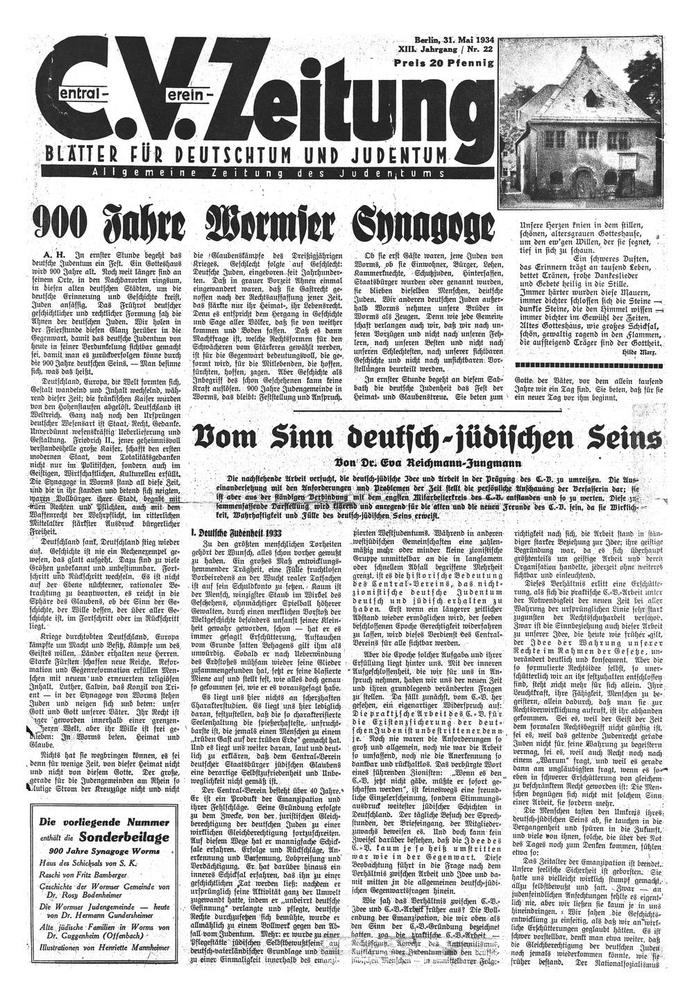 Central-Verein-Zeitung - Page 1