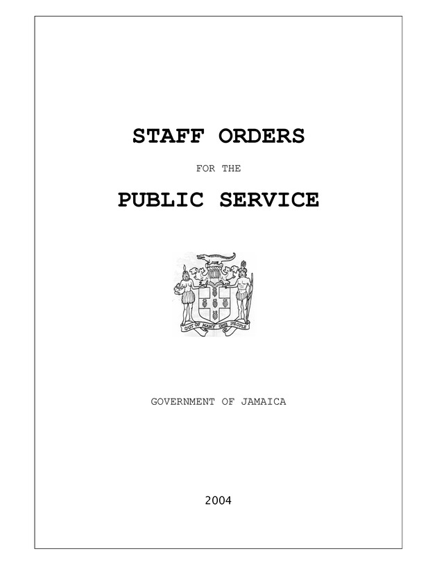 Staff Orders for the Public Service in Jamaica - Page i