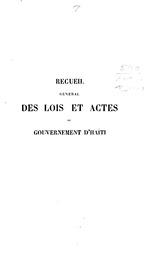Recueil général des lois et actes du gouvernement d'Haïti