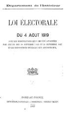 Loi électorale du 4 août 1919