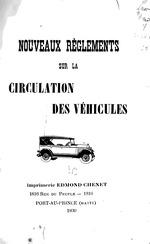 Nouveaux règlements sur la circulation des véhicules.