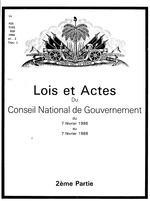 Lois et actes du Conseil national de gouvernement du 7 février 1986 au 7 février 1988.Conseil national de gouvernement provisoire. )