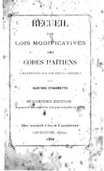 Recueil des lois modificatives des codes haïtiens
