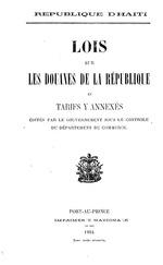 Lois sur les douanes de la République et tarifs y annexés