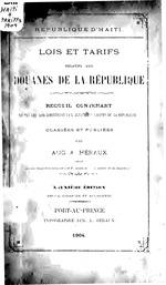 Lois et tarifs relatifs aux douanes de la République