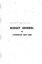 Budget general de l'exercice: 1949-50:n.a., mimeo, 145p,