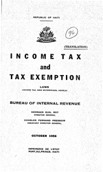 Income tax and tax exemption laws; Income tax, new enterprises, hotels: tr. by Charles F. Pressoir, 43p,