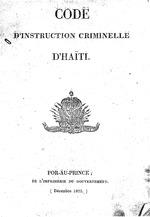 Code d'instruction criminelle d'Haiti:n.a., 117p,