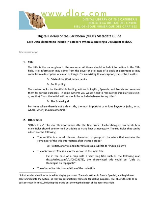 Digital Library of the Caribbean (dLOC) Metadata Guide - Page 1