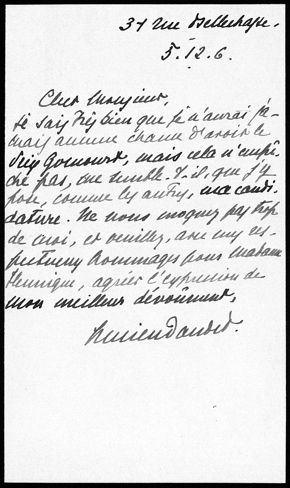Letter from Lucien Daudet to L. Hennique, December 5, 1906