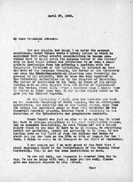 Letter from Sigismond Diettrich to Wallace W. Atwood, president of Clark University, April 27, 1935