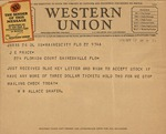 Telegram from W. Wallace Shafer to J.E. Price regarding the Florida Blue Key banquet, October 22, 1931