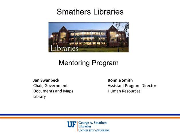 Smathers Libraries mentoring program - Page 1