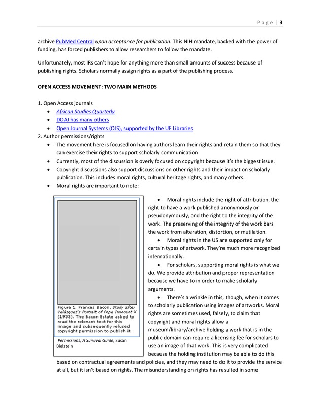 Scholarly Publication, Institutional Repositories, and Author Rights; Guest lecture for Africana Bibliography (AFS5061) Handout and Teaching Notes -