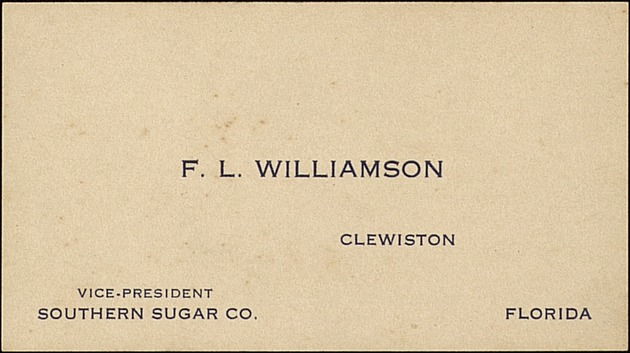 1924 Diary of Fred L. Williamson (discusses the sugar industry, Everglades and South Florida drainage and flood control, etc.) - Card 1