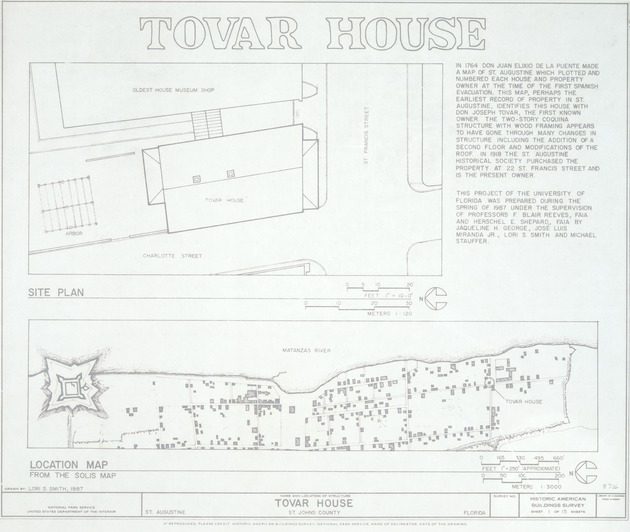 Tovar House - Location Map; Site Plan (Historic American Building Survey)
