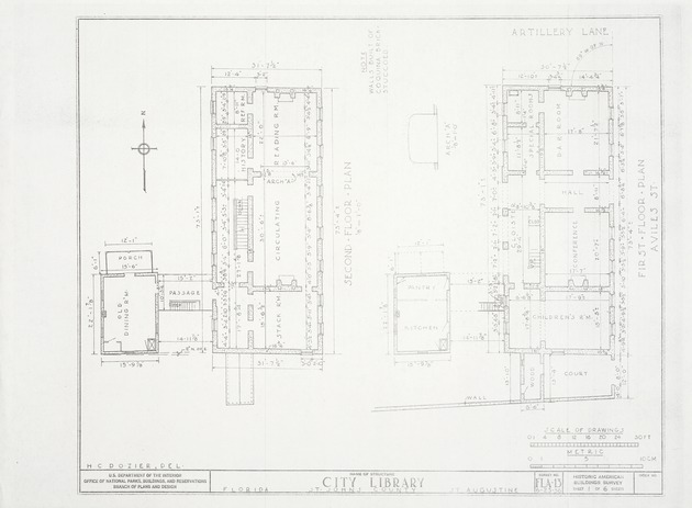 Segui-Kirby Smith House (City Library) - First Floor Plan; Second Floor Plan (Historic American Buildings Survey)