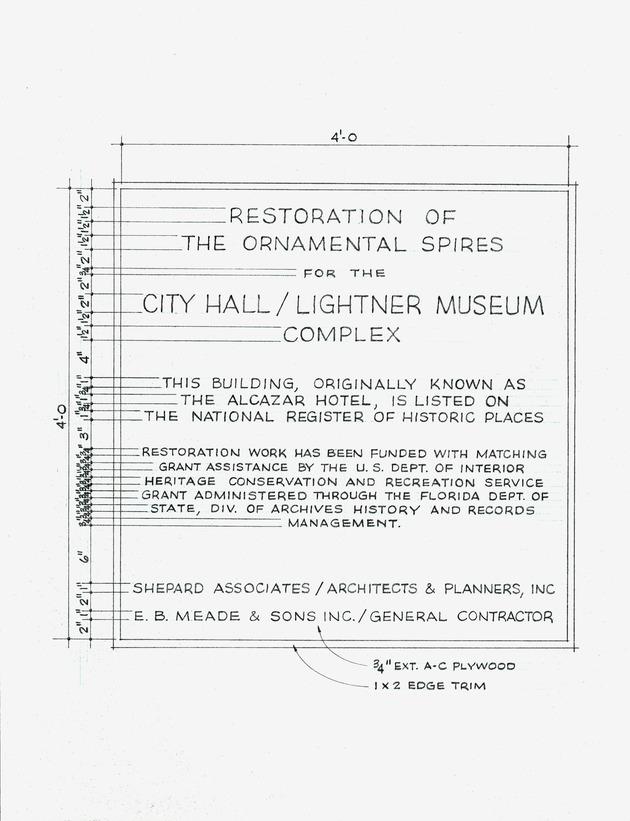 Lightner Museum - Plaque Layout