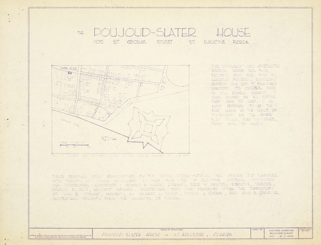 Poujoud-Slater House - Untitled Site Map (Historic American Buildings Survey)