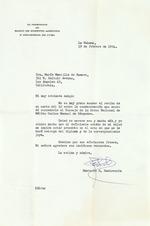 """Letter to María Mantilla de Romero from Emeterio S. Santovenia, February 19, 1954, mentions """"el Consejo de La Orden Nacional de Mérito Carlos Manuel de Céspedes."""""""
