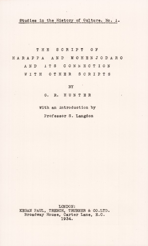 The script of Harappa and Mohenjodaro and its connection with other scripts - Title Page 1