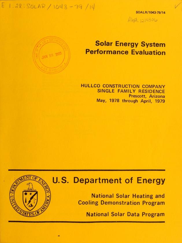Solar energy system performance evaluation : Hullco