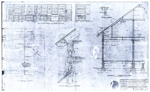 Officers Club House at Camp Albert H. Blanding Achitectural Drawings