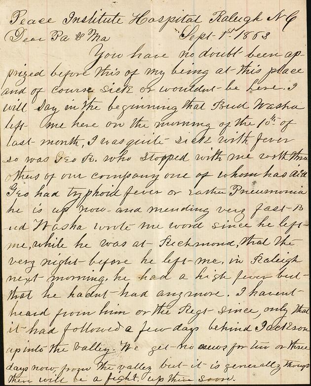 Correspondence - 1863: Sept. 1, Willie to parents - Page 1