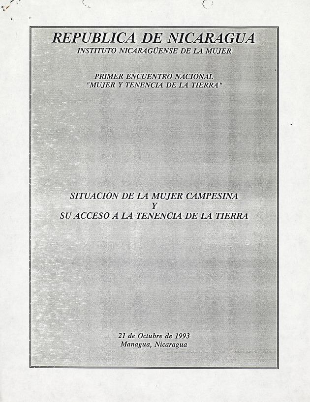 Situcion de la mujer campesina y su acceso a la tenecia de la tierra - Front Cover