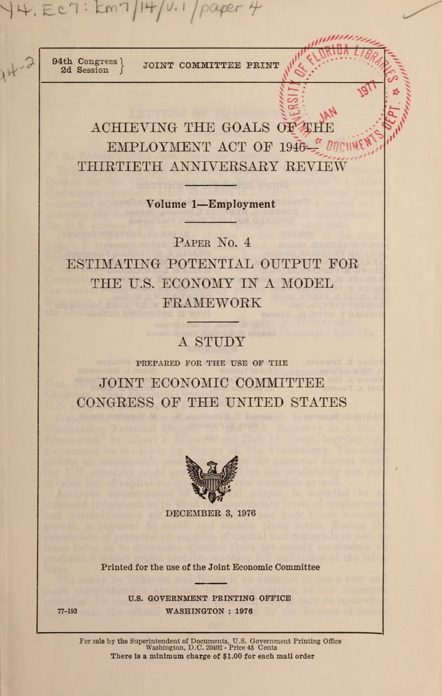 Achieving the goals of the Employment act of 1946 - thirtieth anniversary review - Page i