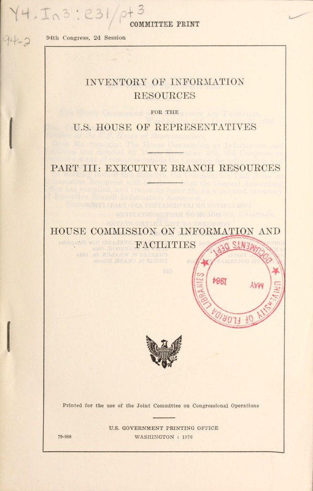 Inventory Of Information Resources And Services For The U S