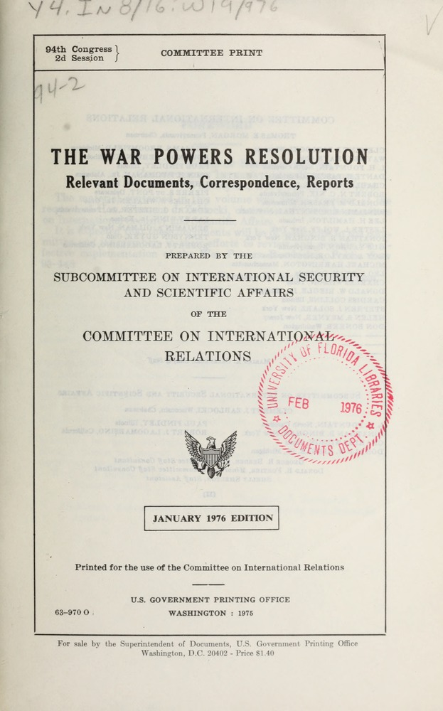 the war powers resolution   relevant documents