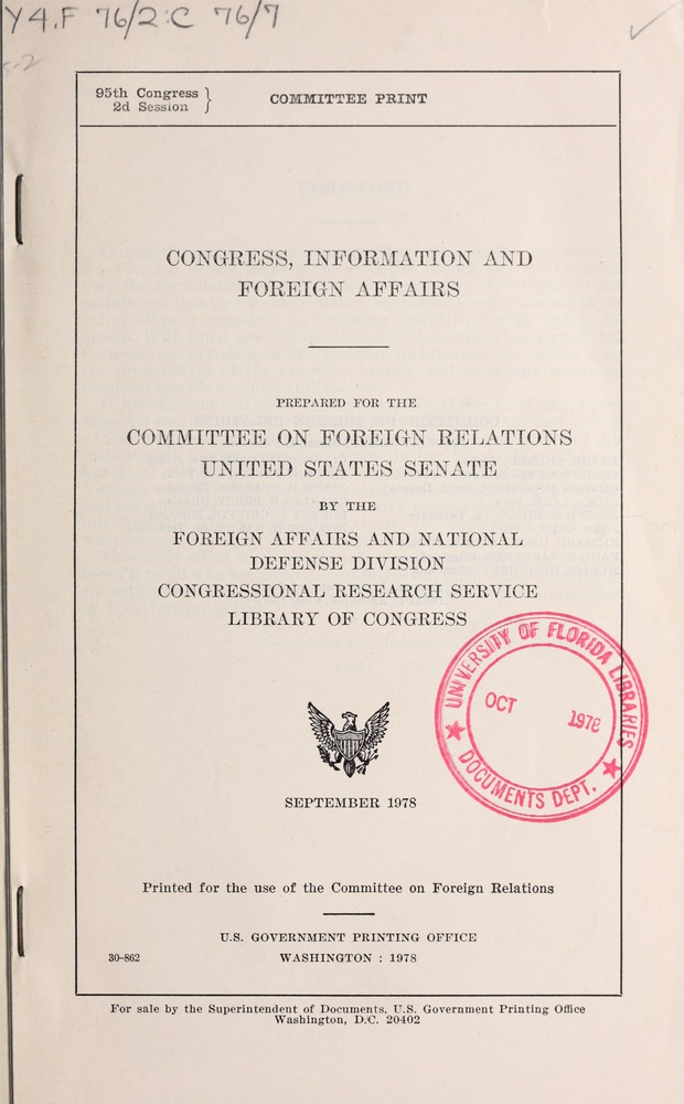 Congress, information and foreign affairs