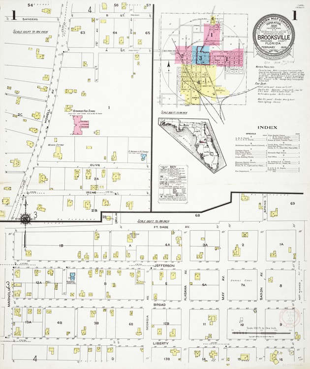 Brooksville, Hernando County, Florida, 1924 - Sheet 1