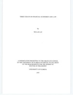 Three essays in financial economics and law