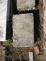 Gravestone 104, Hunt's Bay Jewish Cemetery (Last Name: Nu±es, First: Yacob, Title: Hijo (son))
