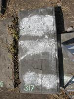 Gravestone 317, Hunt's Bay Jewish Cemetery (Last Name: illegible)