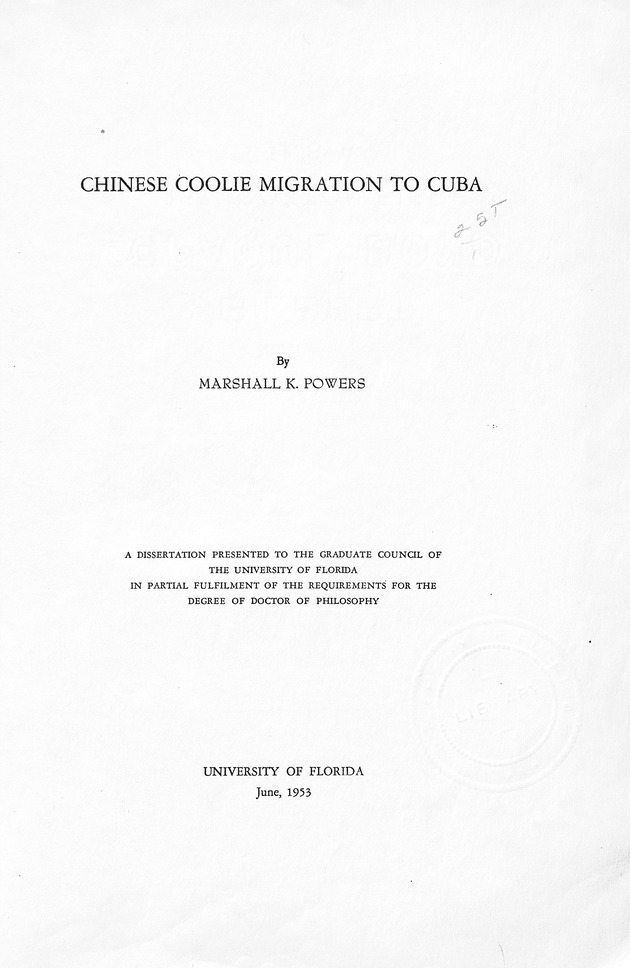 Chinese coolie migration to Cuba.. - Page i