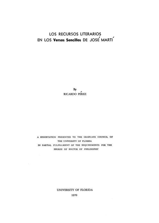 Los Recursos literarios en los Versos sencillos de José Martí - Page i