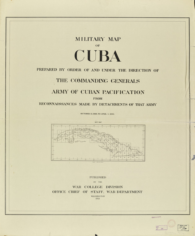 "Military map of Cuba - Title Sheet and Index ""Key Map"""