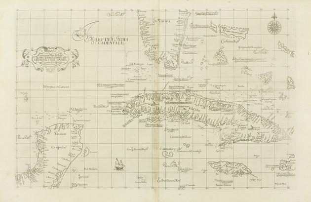 Carta particolare del'Isola di Cuba è di Iamaica con il capo della Florida è l'Isola Intorno