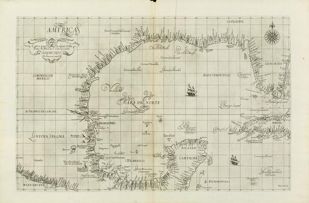 Carta particolare della Baia di Messico con la costa