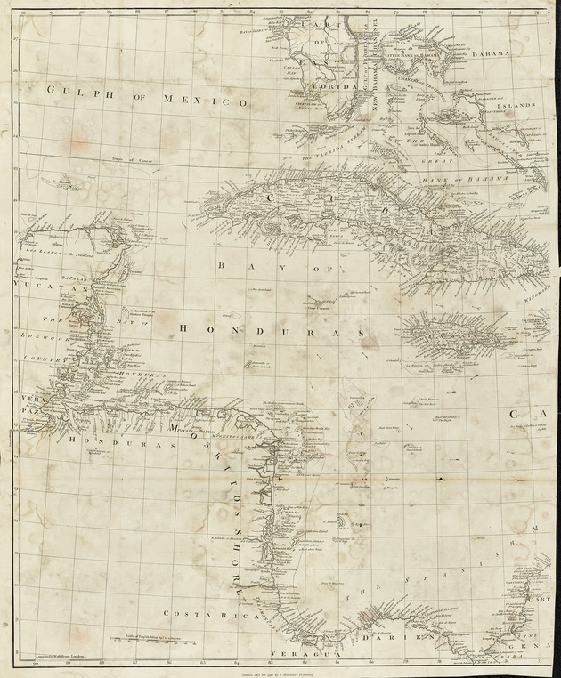 A new map of the West Indies, for the history of the British colonies - West sheet