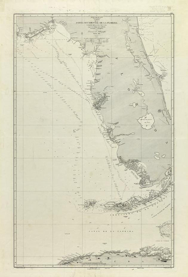 Carta de la costa occidental de la Florida y parte de la isla de Cuba