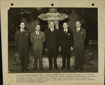 Captain Rafael Suárez and Captain Alberto Taborga, on a special mission from the Bolivian Government, photographed with Luis Fernando Guachalla, Minister of Bolivia to the United States, Lieutenant Colonel Oscar Moscoso, Military Attaché of the Legation in Washington, D.C., and Dr. Leo Stanton Rowe, Director General of the Pan American Union