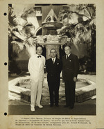 Dr. Leo Stanton Rowe, Director General of the Pan American Union, photographed with Julio Barata, Director of the Radio Section of the Brazilian Press and Propaganda Department, and Donald Withycomb of the Radio Section of the National Defense Council